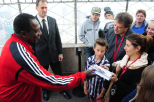 """The Empire State Building hosts legendary Harlem Globetrotter and Basket Ball of Famer Meadowlark Lemon as he promotes his new book, """"Trust Your Next Shot: A Guide To A Life Of Joy""""."""
