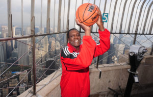"The Empire State Building hosts legendary Harlem Globetrotter and Basket Ball of Famer Meadowlark Lemon as he promotes his new book, ""Trust Your Next Shot: A Guide To A Life Of Joy""."
