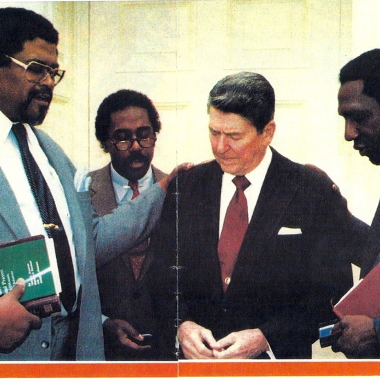 Meadowlark Lemon, President Ronald Reagan, Demond Wilson, Rosey Grier